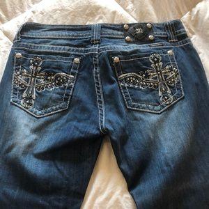 33x30 rhinestone cross miss me jeans